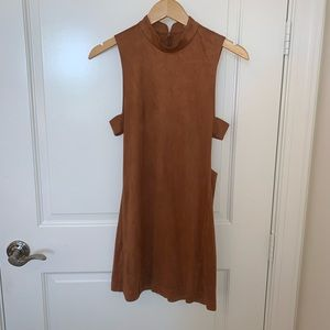 Suede dress with side cut outs